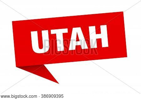 Utah Sticker. Red Utah Signpost Pointer Sign