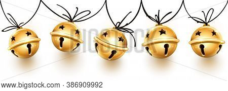 Christmas holiday decoration garland of golden jingle bells on the rope. Festive seamless pattern with banner with realistic bronze sleigh bells handing for christmas greeting card. 3D illustration.