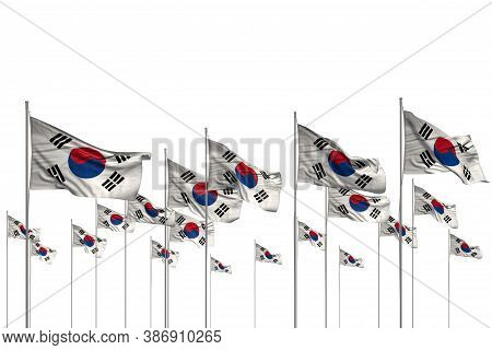 Pretty Many Republic Of Korea (south Korea) Flags In A Row Isolated On White With Free Place For Con