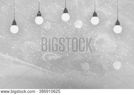 Fantastic Brilliant Abstract Background Light Bulbs With Sparks Fly Defocused Bokeh - Celebratory Mo