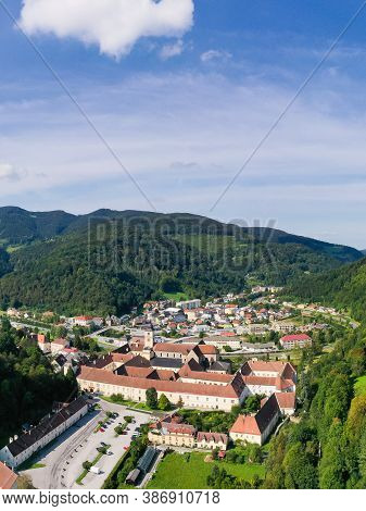 Lilienfeld Abbey, A Cistercian Monastery In Lower Austria. Aerial View To The Historic Landmark And