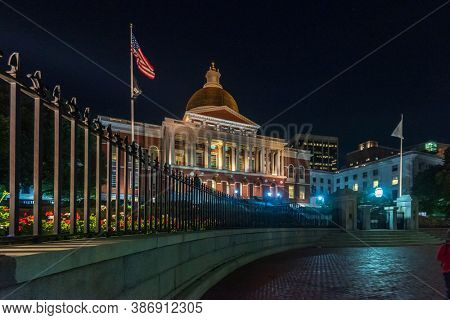 Boston, Massachusetts, USA, September 15, 2018: Tourist on the Streets at Night in the Centre of Boston.