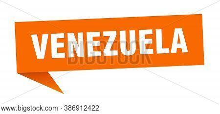 Venezuela Sticker. Orange Venezuela Signpost Pointer Sign