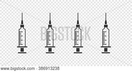 Medical Syringes. Syringe Or Injection Icons Outline Vector. Vector Illustration