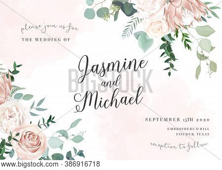 Silver Sage And Blush Pink Flowers Vector Design Frame. Ivory Beige And Dusty Rose, White Peony, Pro