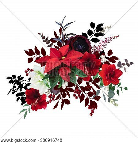 Christmas Joy Floral Vector Bouquet. Red And White Amaryllis, Poinsettia, Green, Burgundy Branch, Ho