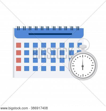 Calendar And Stopwatch Isolated On White Background Stock Vector Illustration. Productivity, Organis