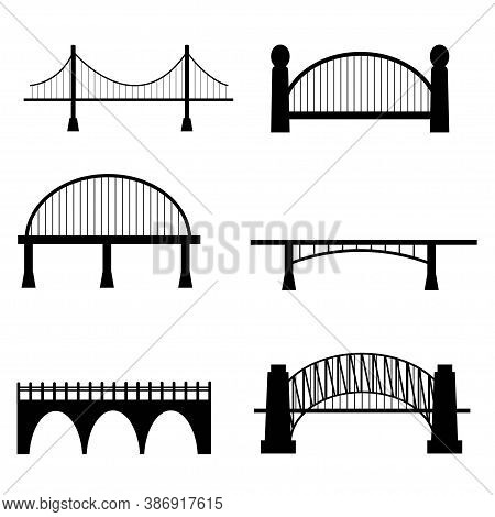 Set Of Six Types Of Bridge In Cuontuor Black Colour Isolated On White Background Stock Vector Illust