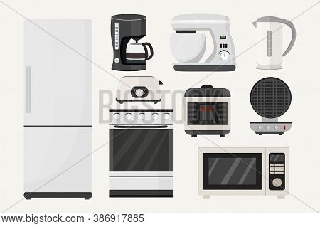 Big Set From Kitchen Equipment. Refrigerator, Stove, Microwave, Slow Cooker, Toaster, Waffle Iron, M