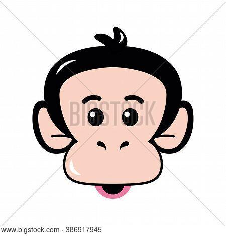 Isolated Face Emoji Funny Chimpanzee Icon - Vector