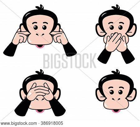 Isolated Set Body Emoji Chimpanzee Funny Icon - Vector