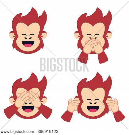 Isolated Set Body Emoji Chimpanzee Red Funny Icon - Vector