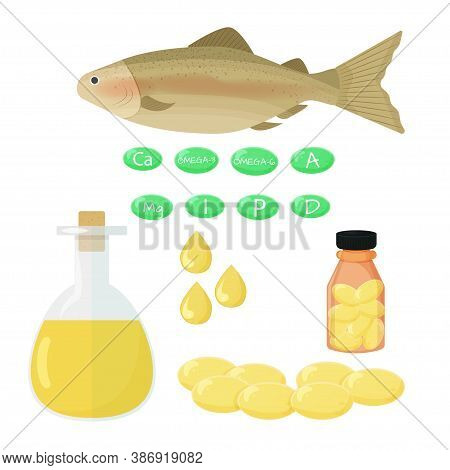 Fish, Liquid In Glass Bottle, Dtops Of Oil, Vitamins That Contains Fatty Acids Isolated Objects On W