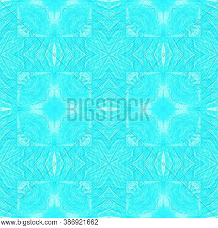 Folk Tribal Seamless Pattern. Abstract Drawn Gouache Effect. Fashion Ethnic Rapport. Blue And White