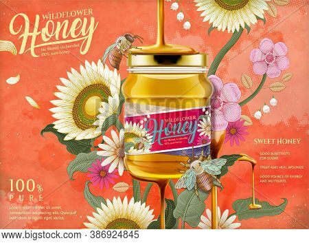 Attractive Honey Ads, Honey Dripping From Top On The Glass Jar In 3d Illustration With Elegant Flowe