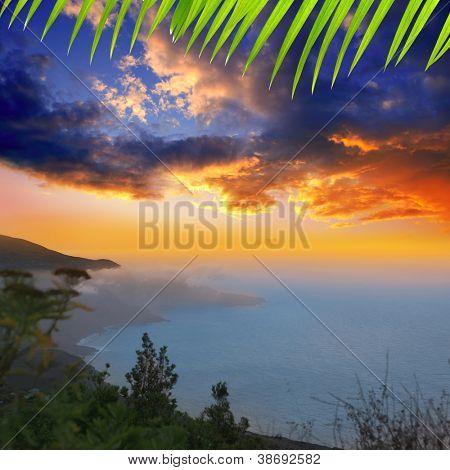 La Palma Punta Gaviota from Cuplida aerial with haze calima Canary Islands poster