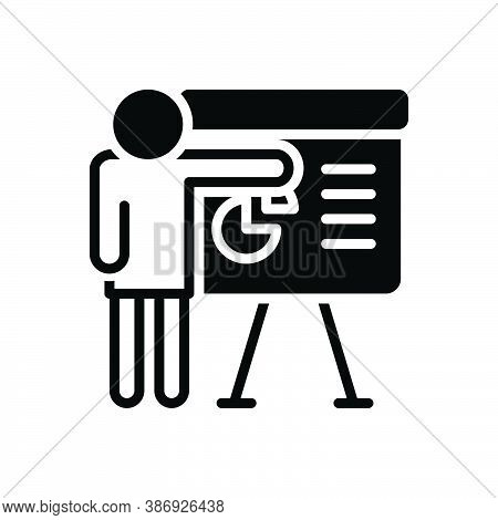 Black Solid Icon For Plan Project Assignment Task Strategy Discussion Presentation Display