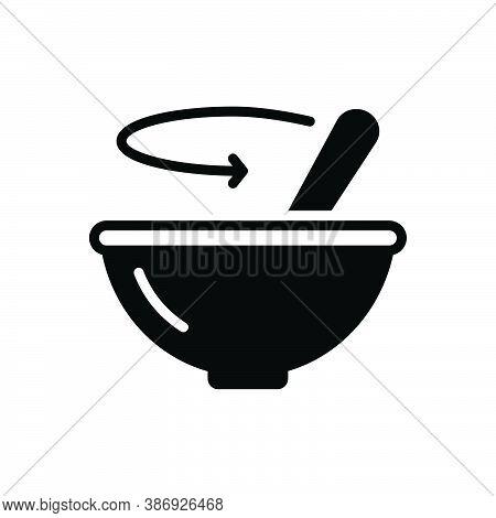 Black Solid Icon For Stir Bustling Bustle Ado Paddle Mix Blend Dishware
