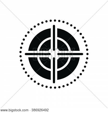 Black Solid Icon For Focus Target Goal Objective Viewfinder Strategy Dartboard Accuracy