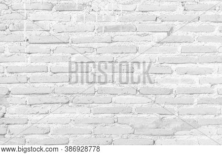Vintage White Brick Wall Texture For Retro Background, Black And White Photo Of Old Brick Wall Rough