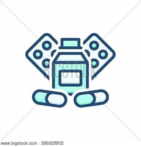 Color Illustration Icon For Medicine Drug Pills Tablet Capsule Globule