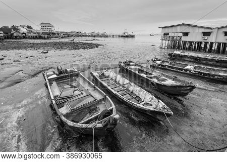 Harbor View From One Of The Clan Jetties In Historic George Town, Penang, Malaysia - Chew Jetty. Woo
