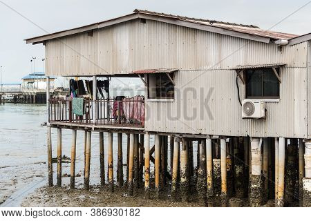 George Town, Penang, Malaysia - December 1, 2019: Typical Stilt House In One Of The Clan Jetties In