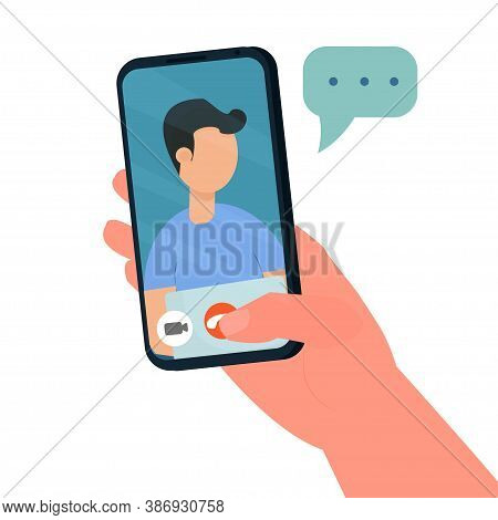 Hand Holding Phone, Video Call, Conference, Stream Concept Stock Vector Illustration. Face Of Man On