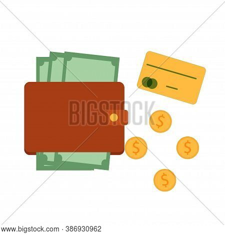 Purse, Wallet With Banknotes, Near Coins And Credit Card Isolated On White Background Stock Vector I