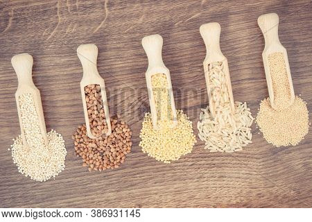 Vintage Photo, Buckwheat, Millet Groats, Brown Rice, Amaranth And Quinoa Seeds, Concept Of Healthy,