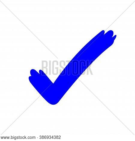 Tick Check Mark Icon Blue, Checkmark Icon For Voting, Blue Approval Tick, Hand Drawn Check Sign Dood