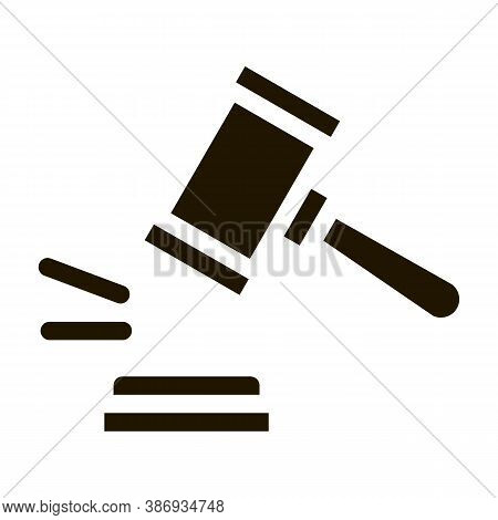 Court Gavel Law And Judgement Icon Vector . Contour Illustration