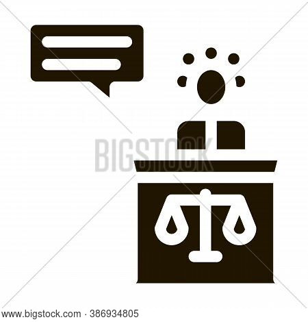 Female Witness Law And Judgement Icon Vector . Contour Illustration