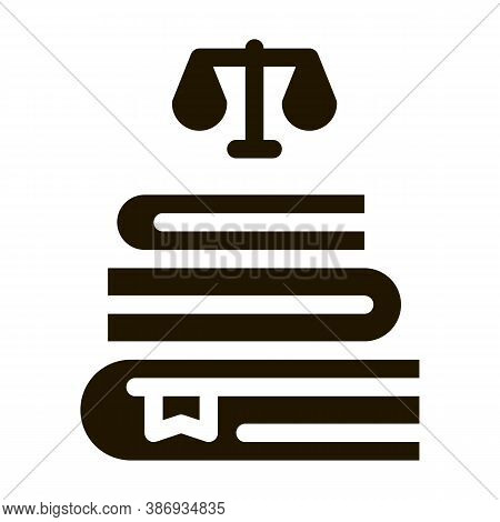 Justice Books Law And Judgement Icon Vector . Contour Illustration