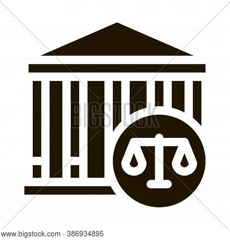 Courthouse Law And Judgement Icon Vector . Contour Illustration