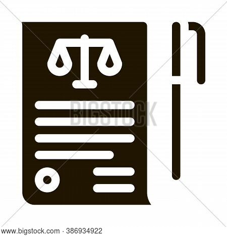 Sheet Of Paper And Pen In Court Law And Judgement Icon Vector . Contour Illustration