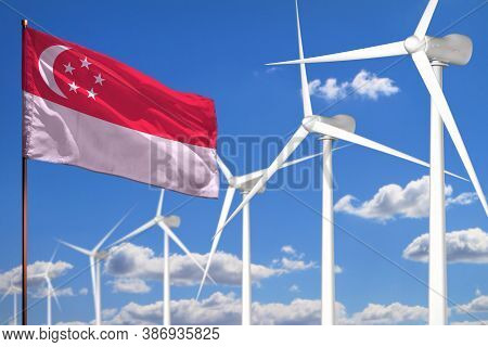 Singapore Alternative Energy, Wind Energy Industrial Concept With Windmills And Flag - Alternative R