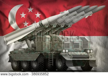 Tactical Short Range Ballistic Missile With Arctic Camouflage On The Singapore Flag Background. 3d I