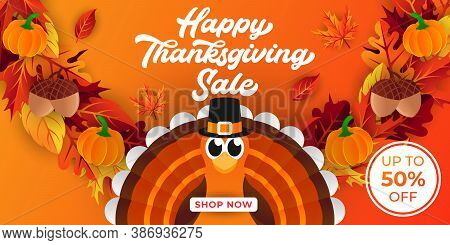Happy Thanksgiving day sale background vector. Thanksgiving day sale vector. Thanksgiving day sale vector background. Thanksgiving day sale banner design. Thanksgiving day sale vector illustration template for flyer, banner, poster, brochure.