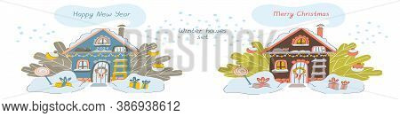 Vector Winter Houses With Letterings Merry Christmas And Happy New Year. Cozy Winter Illustration Wi