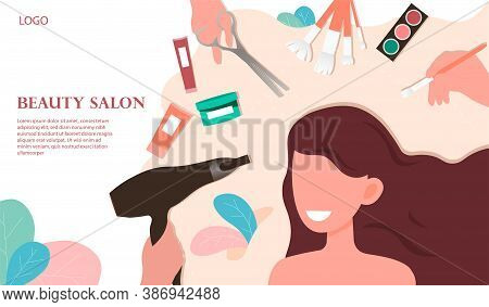 Beauty Salon Concept. A Young Pretty Girl Drying Her Hair With A Hair Dryer. Flat Vector Illustratio