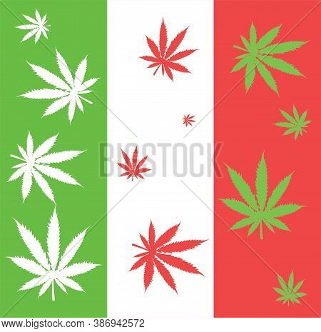 Legalization Of Marijuana In Italy. Italy Flag With Cannabis Leaves.