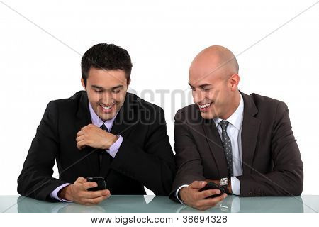 Colleagues laughing together