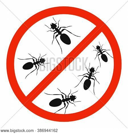 The Ants With Red Ban Sign. Stop Ants Sign Isolated. Forbid Ant Icon. Vector Illustration.