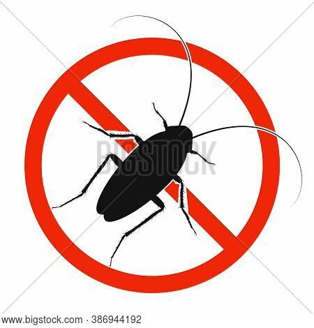 The Cockroach With Red Ban Sign. Stop Cockroach Sign Isolated. Forbid Cockroach Icon. Vector Illustr