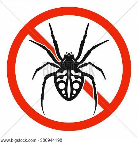 The Spider With Red Ban Sign. Stop Spider Sign Isolated. Forbid Spider Icon. Vector Illustration.