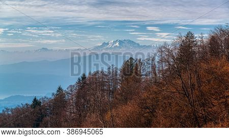Landscape On The Monte Rosa Massif In Fall Season With Forest In Foreground, Regional Park Of Campo