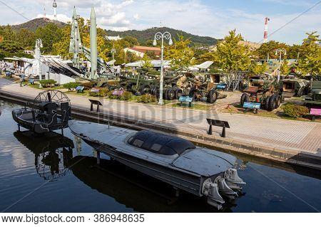 Seoul, South Korea - October 19th 2017: War Ship At The War Memorial Of Korea Museum, Yongsan-dong,