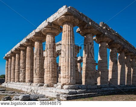 Archaic Temple Or First Temple Of Hera In Paestum, Italy Also Called Basilica, An Ancient Greek Temp
