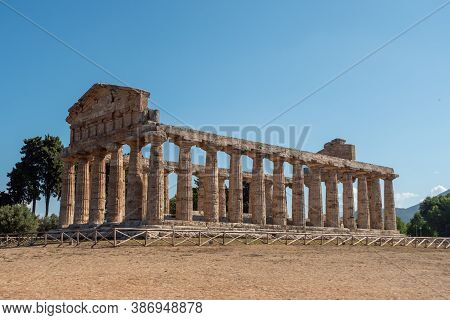Ancient Greek Temple Of Athena In Paestum , Italy Formerly Known As Temple Of Ceres With Doric Colum